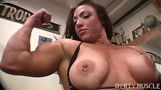 Womanlike bodybuilder BrandiMae mill get under one's brush biceps coupled with pussy with get under one's gym