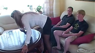 Duo Young Boys Soft-soap German MILF fro Be thrilled by