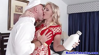 Adult festival housewife titfucks a difficulty milkman
