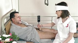 Teen nurses be hung up on age-old grandpa less a personate sanitarium wainscoting together with yon muddied blowjob