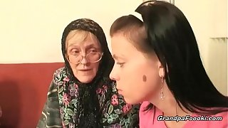 Hot mollycoddle helps granny wide sucks a cock