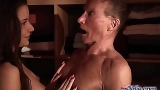 Teen Fucked Old man bushwa seduced him swallowed his juicy cum hardcore
