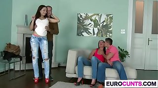 Glum Euro Babes Aurelly Fly in the face of And Nataly Gold